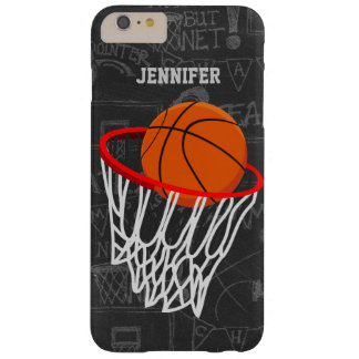 Personalized Chalkboard Basketball and Hoop Barely There iPhone 6 Plus Case