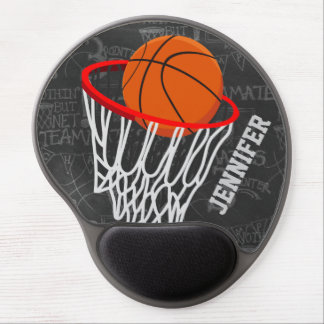 Personalized Chalkboard Basketball and Hoop Gel Mouse Mat