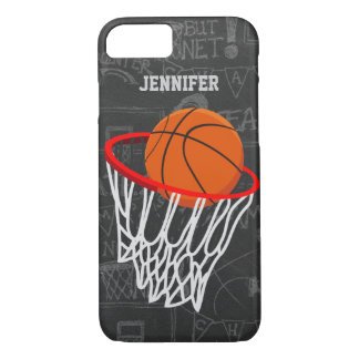 Personalized Chalkboard Basketball and Hoop iPhone 8/7 Case
