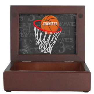 Personalized Chalkboard Basketball and Hoop Keepsake Box