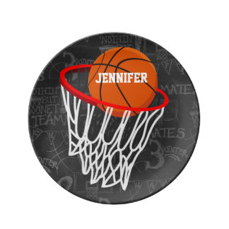 Personalized Chalkboard Basketball and Hoop Porcelain Plate