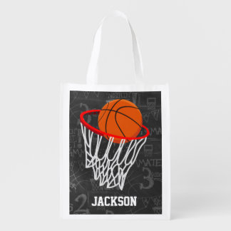 Personalized Chalkboard Basketball and Hoop Reusable Grocery Bag