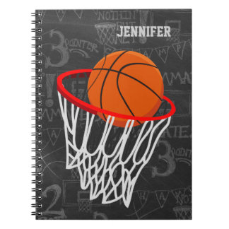 Personalized Chalkboard Basketball and Hoop Spiral Notebook