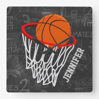 Personalized Chalkboard Basketball and Hoop Square Wall Clock