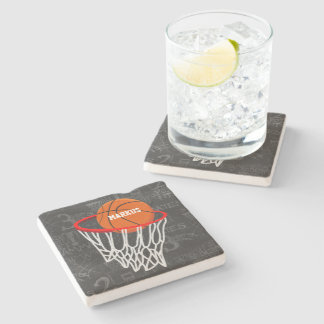 Personalized Chalkboard Basketball and Hoop Stone Coaster