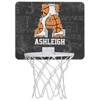 Personalized Chalkboard Basketball Letter A Mini Basketball Hoop