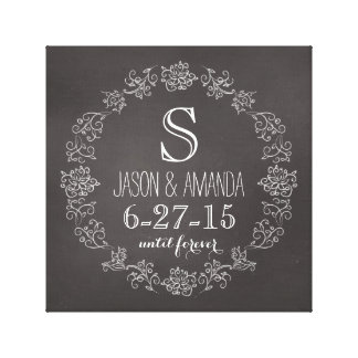 Personalized Chalkboard Monogram Wedding Date Canvas Print