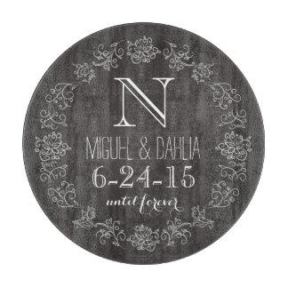 Personalized Chalkboard Monogram Wedding Date Cutting Board