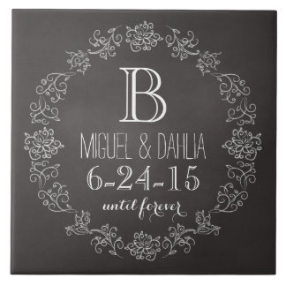 Personalized Chalkboard Monogram Wedding Date Large Square Tile