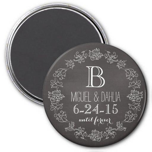 Personalized Chalkboard Monogram Wedding Date Refrigerator Magnets