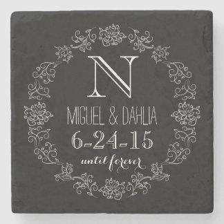 Personalized Chalkboard Monogram Wedding Date Stone Beverage Coaster