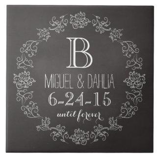 Personalized Chalkboard Monogram Wedding Date Ceramic Tiles