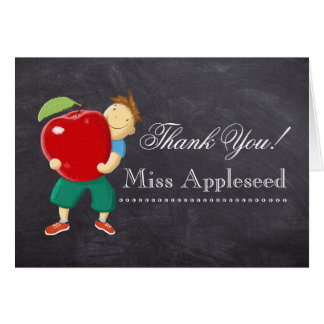 Personalized Chalkboard Teacher Thank You Greeting Card