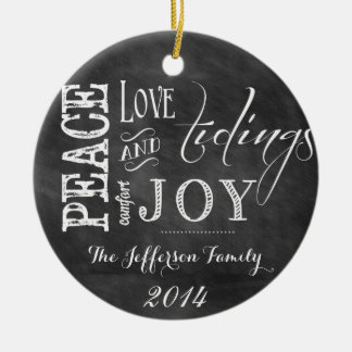 Personalized Chalkboard Words Family Ornament