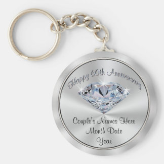 Personalized Cheap 60th Anniversary Party Favors Basic Round Button Key Ring