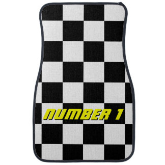 Personalized checkered flag auto racing car mats car mat