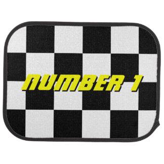 Personalized checkered flag rear racing car mats floor mat