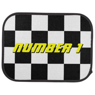 Personalized checkered flag rear racing car mats floor mat