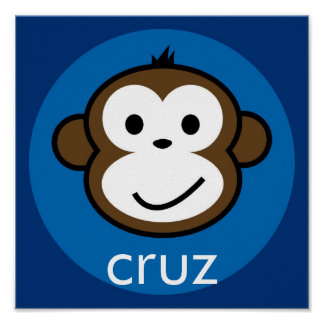 Personalized Cheeky Monkey blue+navy Poster