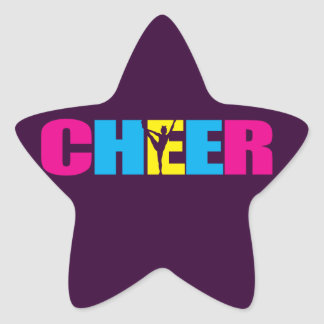 Personalized Cheer Cheerleading Purple Star Sticker