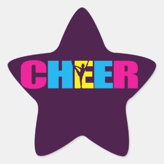 Personalized Cheer Cheerleading Purple Star Sticker