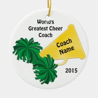 Personalized Cheer Coach Gifts with 8 Text Boxes Round Ceramic Decoration