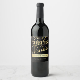Personalized CHEERS TO LOVE Black Gold Wedding Wine Label