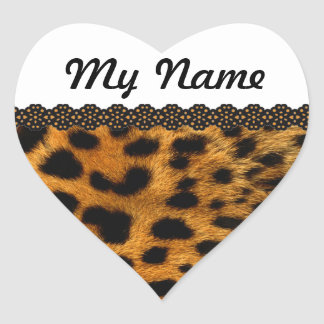 Personalized Cheetah Heart Sticker