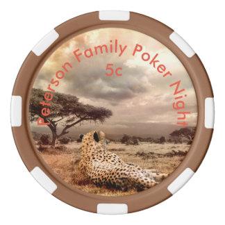 Personalized Cheetah Poker Chips Set
