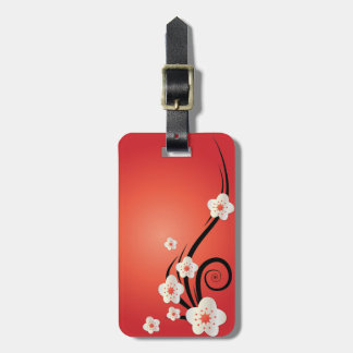 Personalized Cherry Blossom Luggage Tag w/ leather