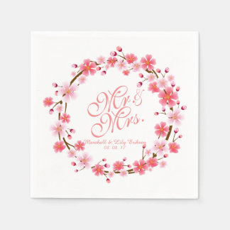 Personalized Cherry Blossom Wreath | Napkin Disposable Napkin
