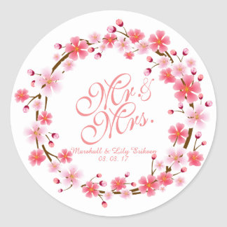 Personalized Cherry Blossom Wreath | Sticker Seal