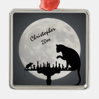 Personalized Chess Full Moon Cat and Mouse Game Silver-Colored Square Decoration