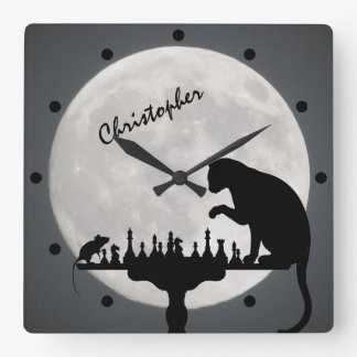 Personalized Chess Full Moon Cat and Mouse Game Square Wall Clock