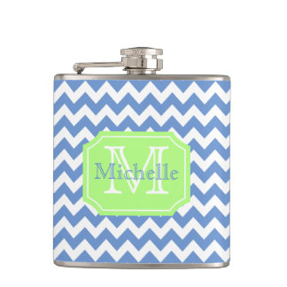 Personalized chevron monogrammed flask