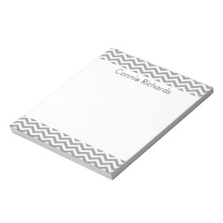 Personalized Chevron Notepad - gray