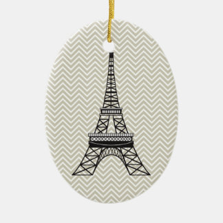 Personalized Chevron Paris Eiffel Tower Ornament