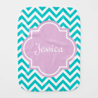 Personalized chevron pattern burp cloth with name