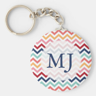 Personalized Chevron Pink Turquoise Blue Red Coral Basic Round Button Key Ring