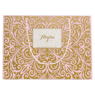 Personalized Chic and Glam Upscale Pink and Gold Large Gift Bag