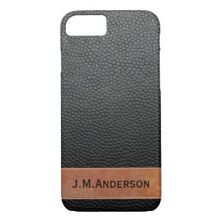 Personalized Chic Black Faux Leather Phone Case