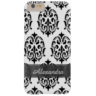 Personalized chic elegant black and white damask barely there iPhone 6 plus case