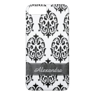 Personalized chic elegant black and white damask iPhone 8 plus/7 plus case