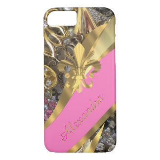 Personalized chic elegant gold and pink bling iPhone 8/7 case