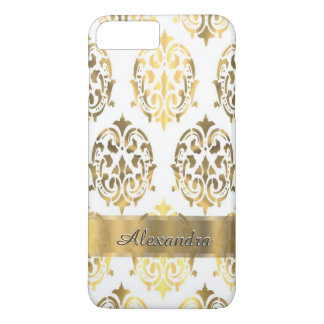 Personalized chic elegant gold and white damask iPhone 8 plus/7 plus case
