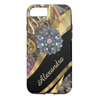 Personalized chic elegant gold rhinestone bling iPhone 7 case