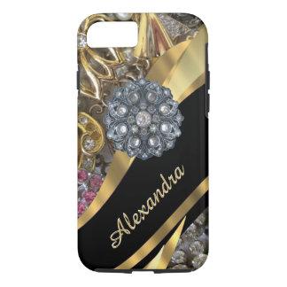 Personalized chic elegant gold rhinestone bling iPhone 7 case