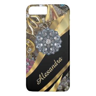Personalized chic elegant gold rhinestone bling iPhone 8 plus/7 plus case