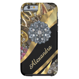 Personalized chic elegant gold rhinestone bling tough iPhone 6 case