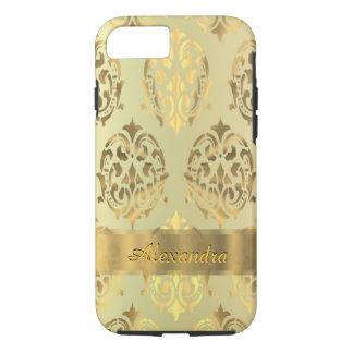 Personalized chic elegant golden damask iPhone 8/7 case